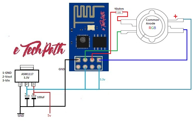 circuit diagram for connecting rgb led: