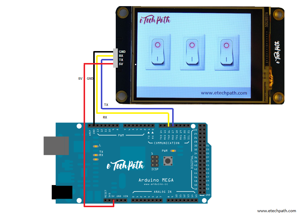 how to interface nextion hmi with arduino mega2560 and