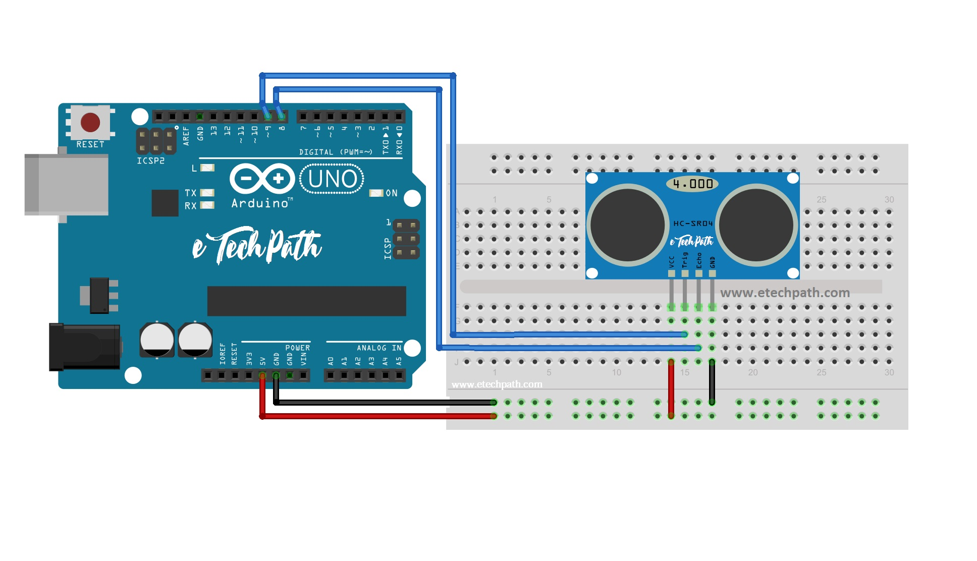 How To Interface Hc Sr04 Ultrasonic Sensor With Arduino Etechpath Circuit Diagraam